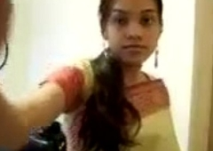INDIAN - Cute Girl Sripping Saree exposing her boobies