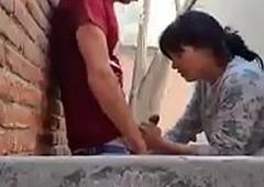 Cute indian blowjob at public