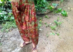 Sister Outdoor Pissing and getting Fucked In the Farm Bathroom by Old man