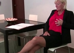 Office grannies in pantyhose have to send someone to Coventry