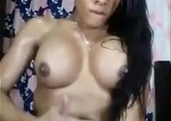 Indian shemale masturbating and cumming on herself