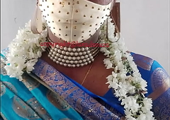 Indian beautiful crossdresser model in blue saree