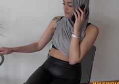 Indian Muslim girl in Hijab fucked rough apart from her Gym trainer