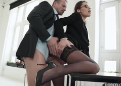 Indian office fuck on the desk with Nikita