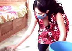 Kannada girl with big boobs is cleaning her abode