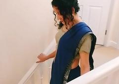 Desi young bhabhi strips immigrant saree to please you Christmas present POV Indian