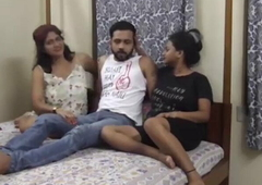 Indian Step sister and wife threesome shacking up at home