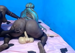 African amazon with a big butt railing a dildo torso