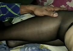 Indian Wife Moja Bhabhi in lingerie stockings and stiletto heels gets masturbated and groped wide of a stranger - nylons blue high heels threesome mfm mmf Bengali cwmjbst