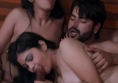 Two Indian Lesbian Girls Having Threesome On every side Following
