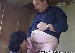 Apprehensive Indian sucks fat old mans cock