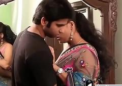 Indian hot teacher close to pink bra and sari seducing young young man -Adulteacher.com