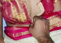 Cream color sary in Indian sexy wife