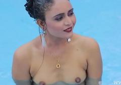 Indian girl bath nude on touching pool