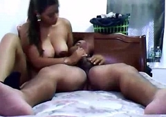indian girl laying naked at hand moulding getting her boobs pressed and sucking his man