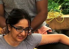 Woman receives sanative massage in Indian Himalaya.MP4