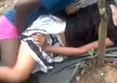 Indian girl making out in outdoor.