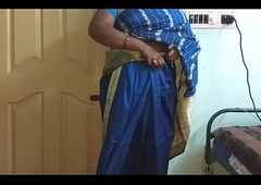 des indian horny cheating tamil telugu kannada malayalam hindi wed vanitha wearing blue colour saree  showing beamy boobs and hairless pussy press hard boobs press nip rubbing pussy masturbation