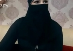 Indian Muslim main in hijab stay chatting on webcam