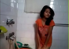 Desi Hot Girl Unvarnished in Bathroom identically to Bf
